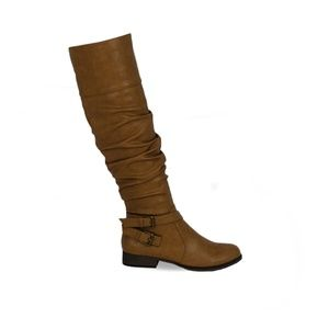 Women's Stacked Heel Taupe Leather Knee High Boot